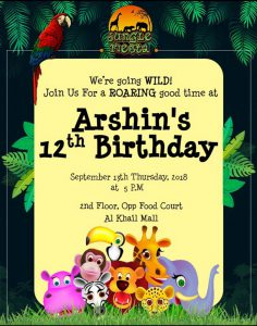 jungle fiesta birthday invitation